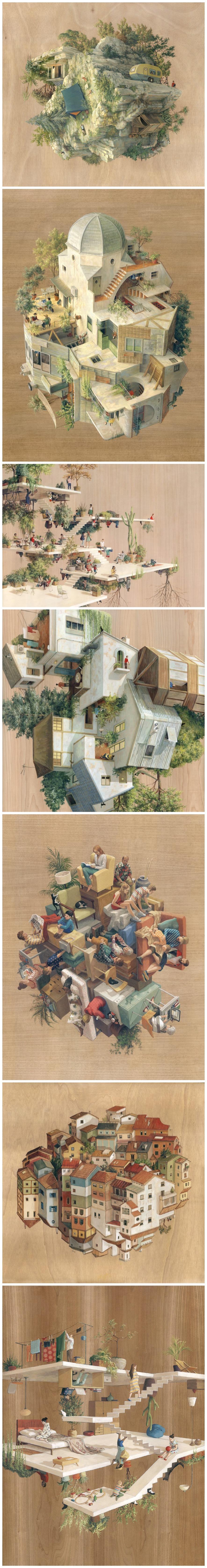 Etonnant Cinta Vidal Agulló   Inverted Architecture And Gravity Defying Worlds, Art,  Painting, Surrealism