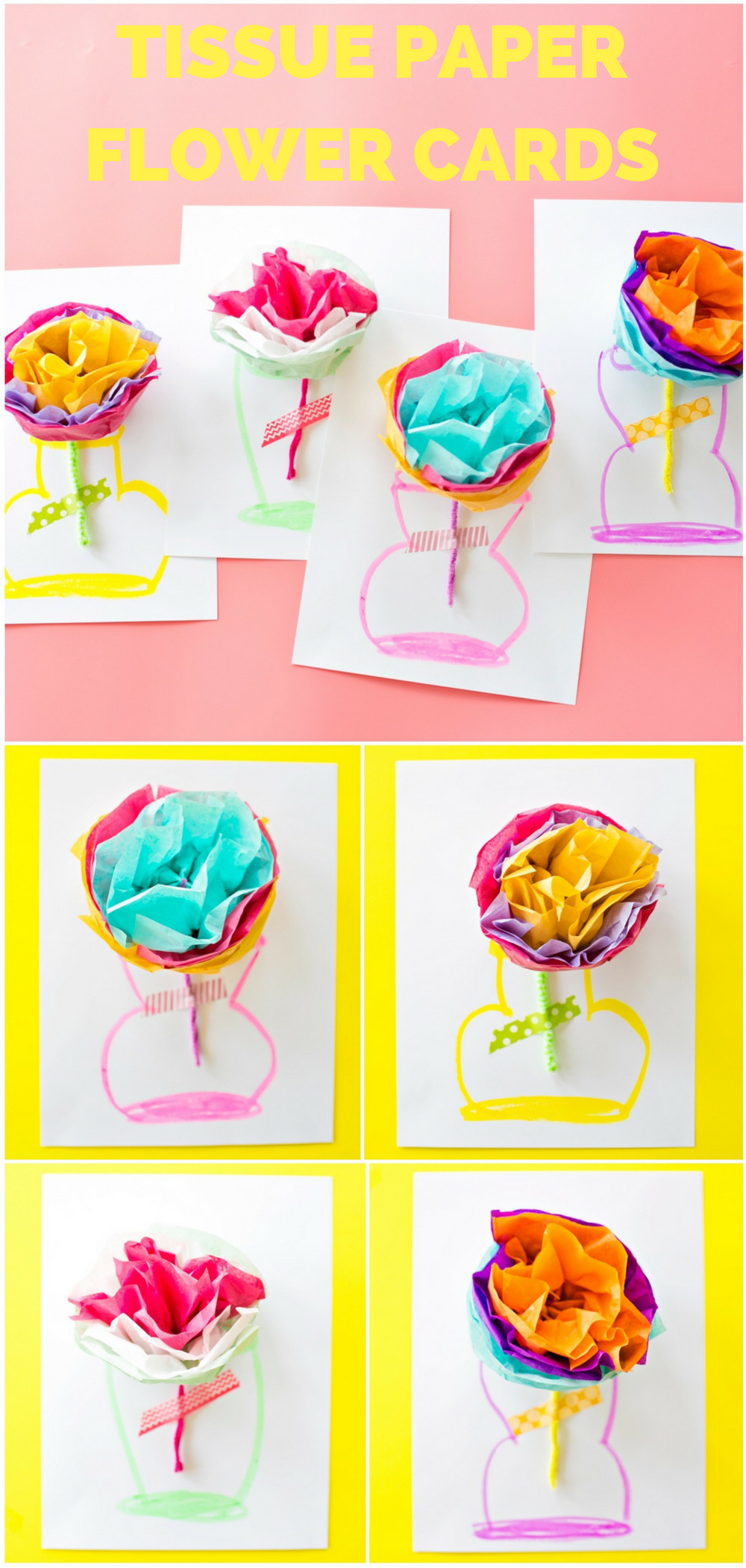 How To Make Tissue Paper Flower Cards With Video Pinterest