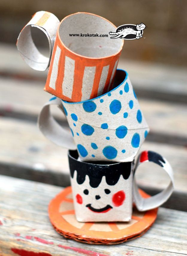 Cute Crafts For Kids for Make | Toilet Paper Teacup Rolls | Your little princess can use this for her next tea party. http://diyready.com/crafts-for-kids-toilet-paper-roll-craft-projects/