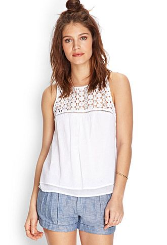 Floral Crochet Cotton Top | FOREVER 21 - 2000103616