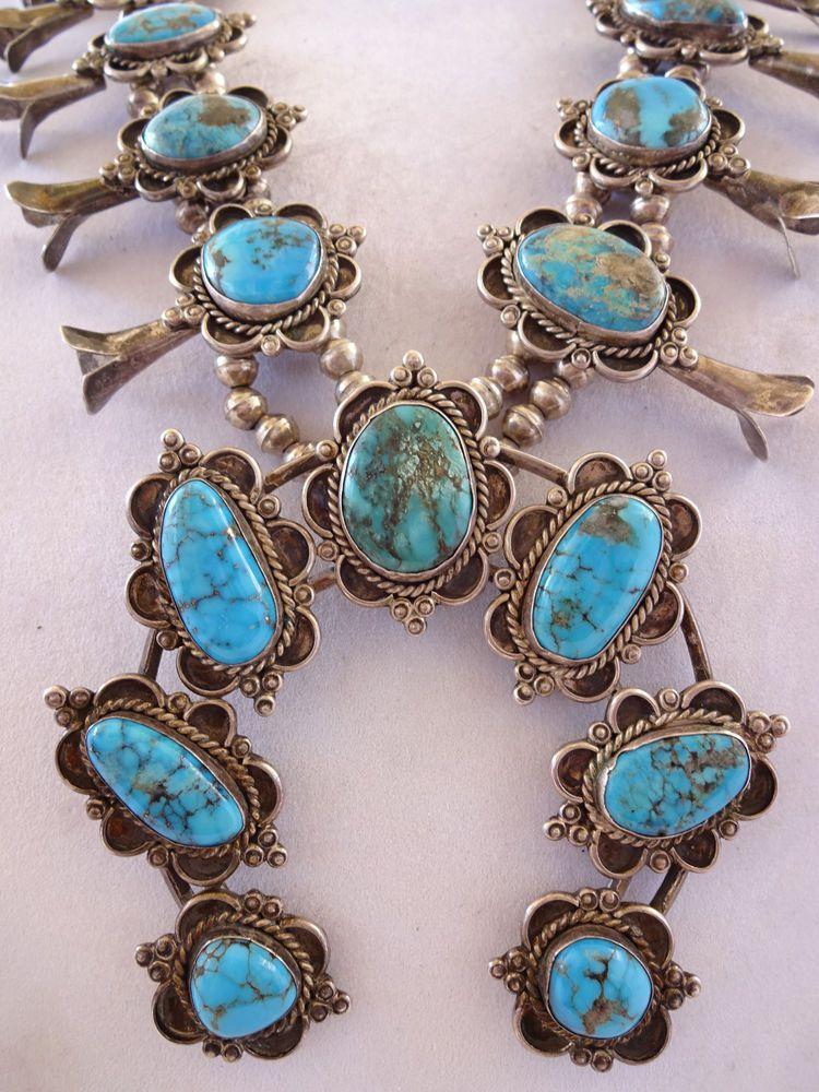 HUGE Vintage NAVAJO Sterling Silver Deep Blue Turquoise SQUASH BLOSSOM Necklace