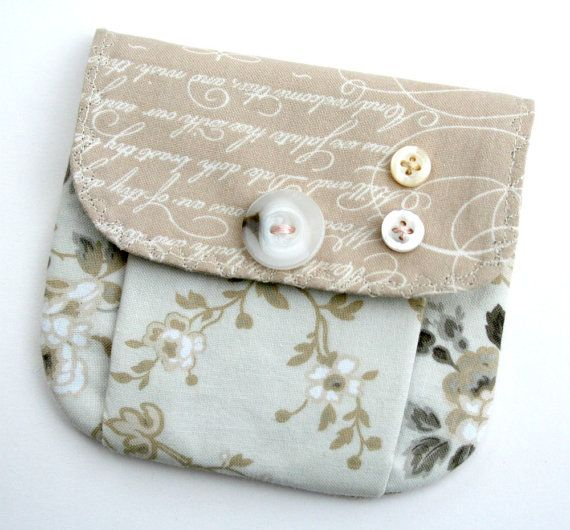 Items similar to Small Pleated Pouch Wallet Snap Closure Beige Lettering Words Cream Floral Roses Buttons on Etsy