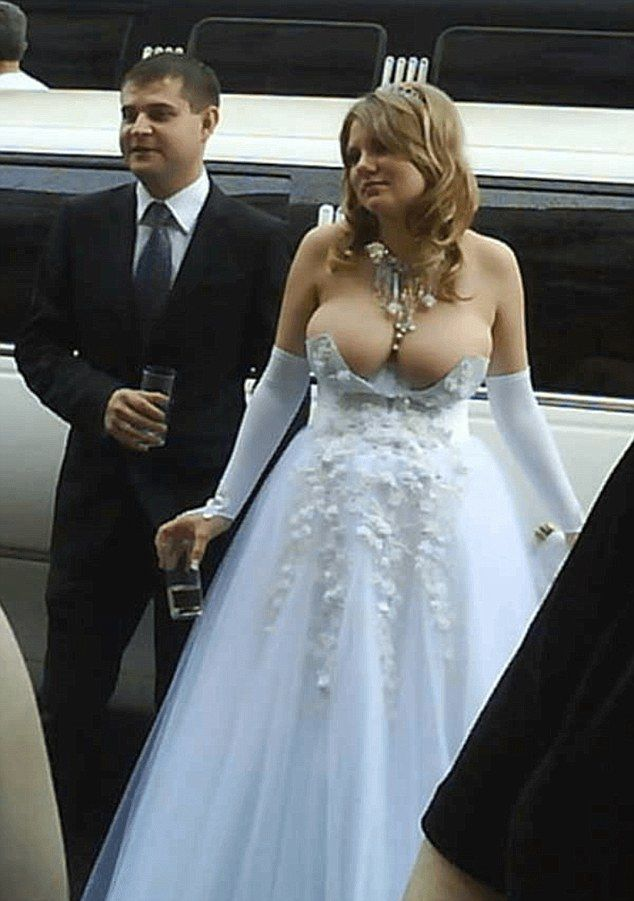One Bride Left Little To The Imagination In A Bustier Dress That Just About Covered Her S And Showcased Cleavage