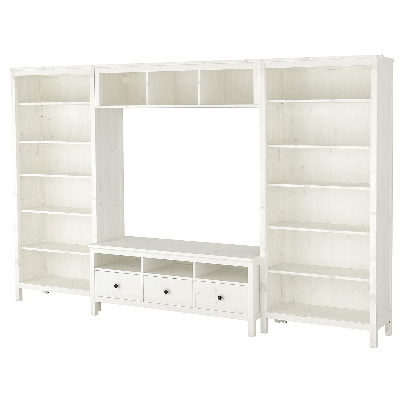 Hemnes Tv Kast.Hemnes Tv Meubel Combi Wit Gebeitst 326x197 Cm In 2020 Tv
