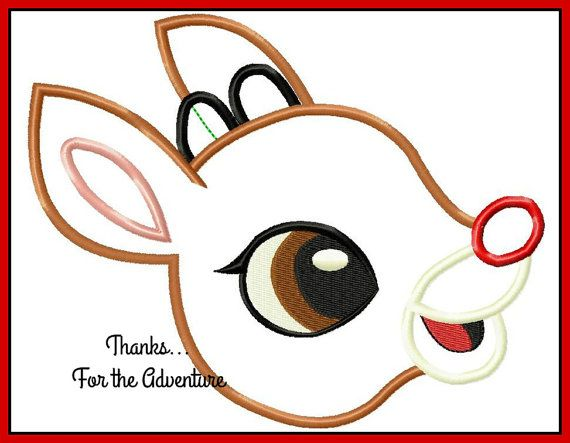 The Most Famous Christmas Reindeer of All Applique Digital Embroidery Machine Design File 4x4 5x7 6x10