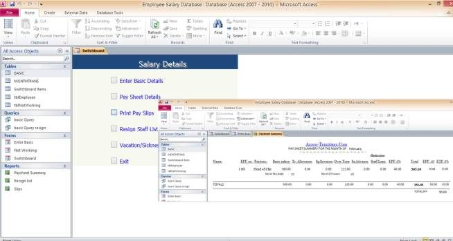 Access Database Employee Salary Administration Templates