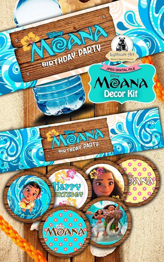 Moana Decor Kit - Moana Labels - Moana Toppers -  Moana Food Tents - Moana Birthday Party - Moana Printables - Moana Decor - Disney de LythiumArt en Etsy
