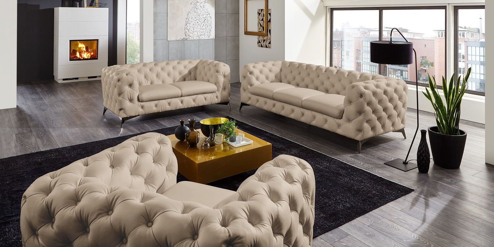 Couchgarnitur 3 2 1 Chesterfield Ledersofa Beige Big Emma 1 Couchgarnitur Chesterfield Möbel Chesterfield Wohnzimmer