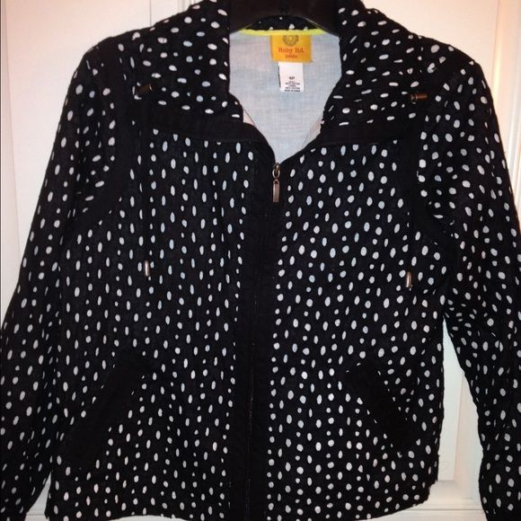 NWT Very Cute black white crop jacket NWT Adorable details!!! Black and white, lightweight, waist length, long sleeve with drawstring collar jacket. Both shell and lining are 100% cotton. Ruby Rd. Jackets & Coats
