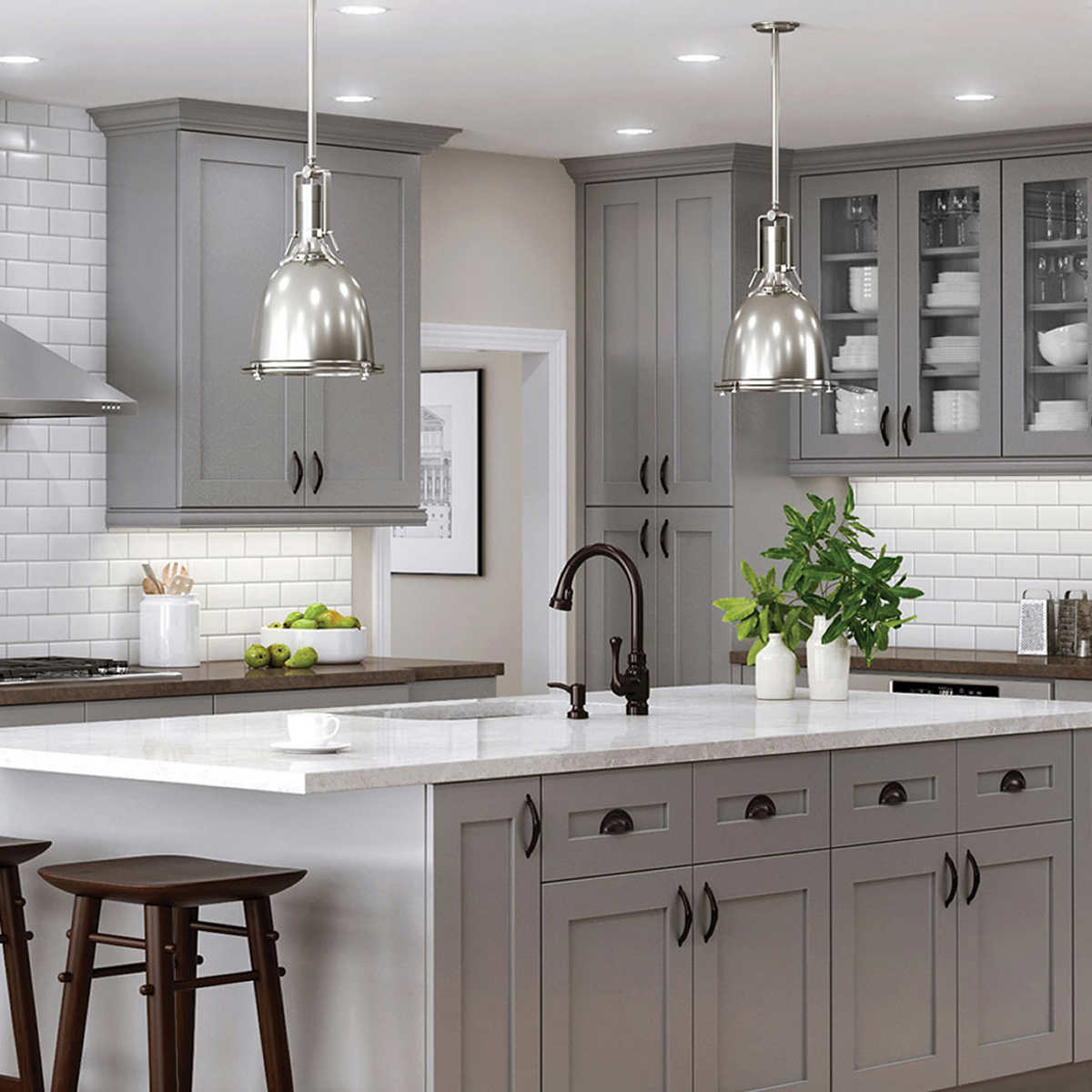 Semi Custom Kitchen And Bath Cabinets By All Wood Cabinetry Ships In 7 10 Days In 2021 Shaker Style Kitchen Cabinets Kitchen Cabinets Painted Grey Grey Kitchen Walls