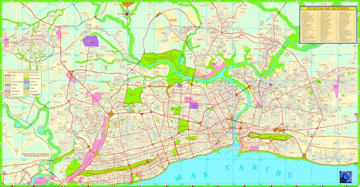 Santo Domingo sightseeing map Maps Pinterest Santo domingo