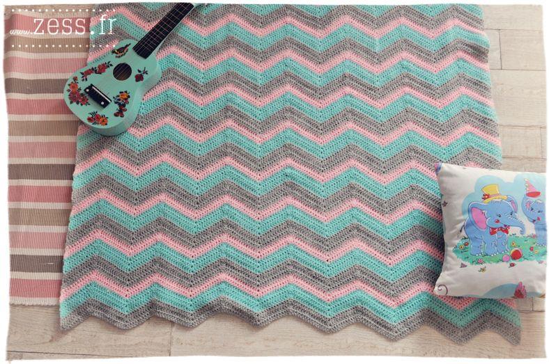 DIY : 2 plaids au crochet (granny square vs chevron | Crochet y dos ...