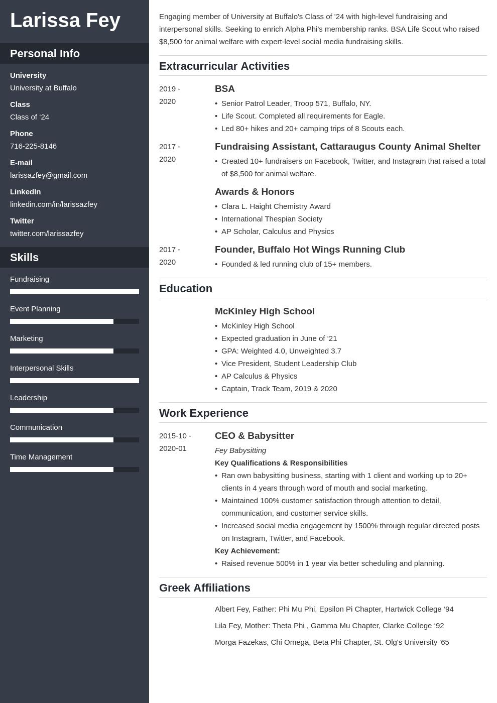 Sorority Resume Example Template Cascade Sorority Resume Resume Examples Job Resume Examples