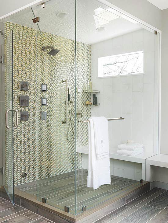 Bathrooms With Walk In Showers Concept two-person shower rooms | wood tile floors, mosaic wall and openness