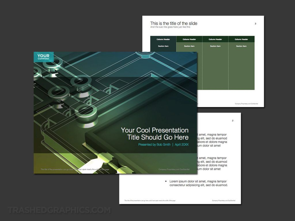 3-page PowerPoint template for high tech manufacturing #tech