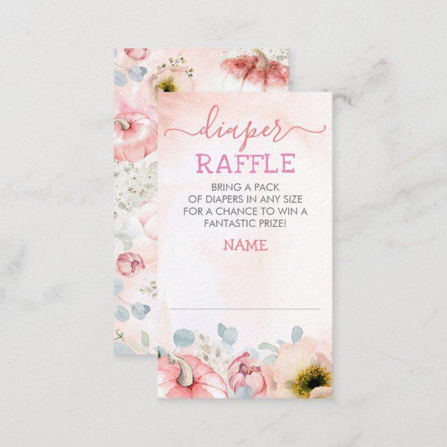 Blush Pink Pumpkin Fall Diaper Raffle Ticket Enclosure Card   Zazzle.com