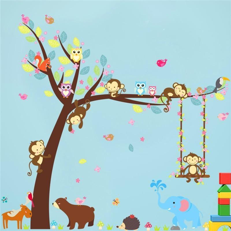 Wandtattoo Wandaufkleber Kinderzimmer Baum Bar Tiere Affen Eule Igel Wunschfieber Wandaufkleber Kinderzimmer Kinderzimmer Schaukel Wandsticker Kinderzimmer