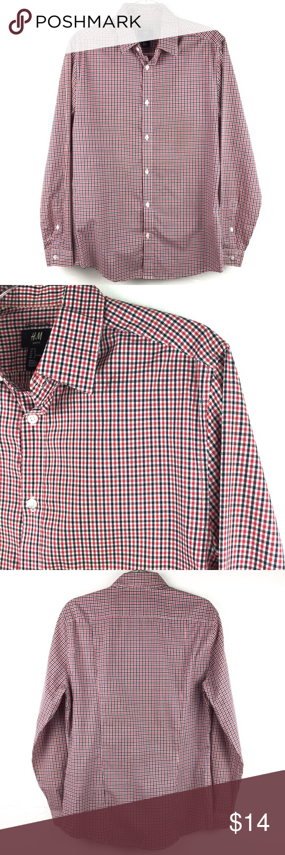 0eb3a67a122a Men's H&M Red Black White Gingham Plaid Shirt Men's H&M Red Black