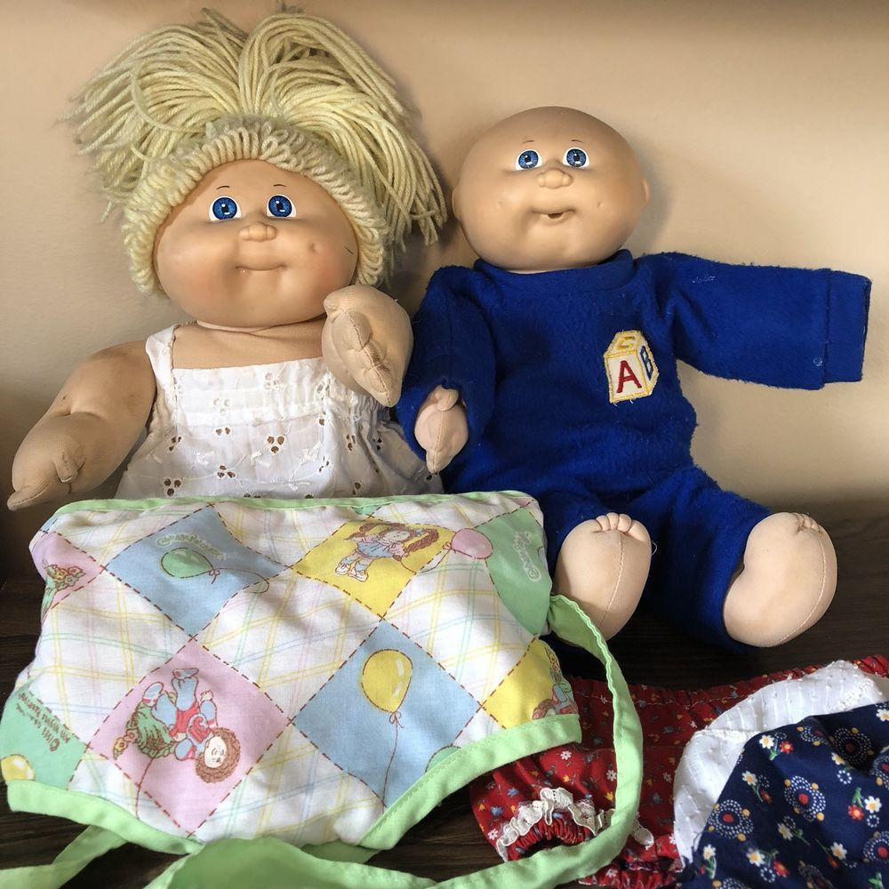 1978 1982 Vintage Cabbage Patch Doll Lot Blonde Yarn Hair Blue Eye ...