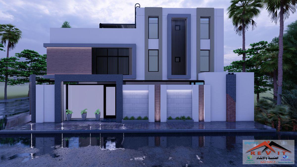 تصميم واجهة فيلا دورين وملحق House Styles Bungalow House