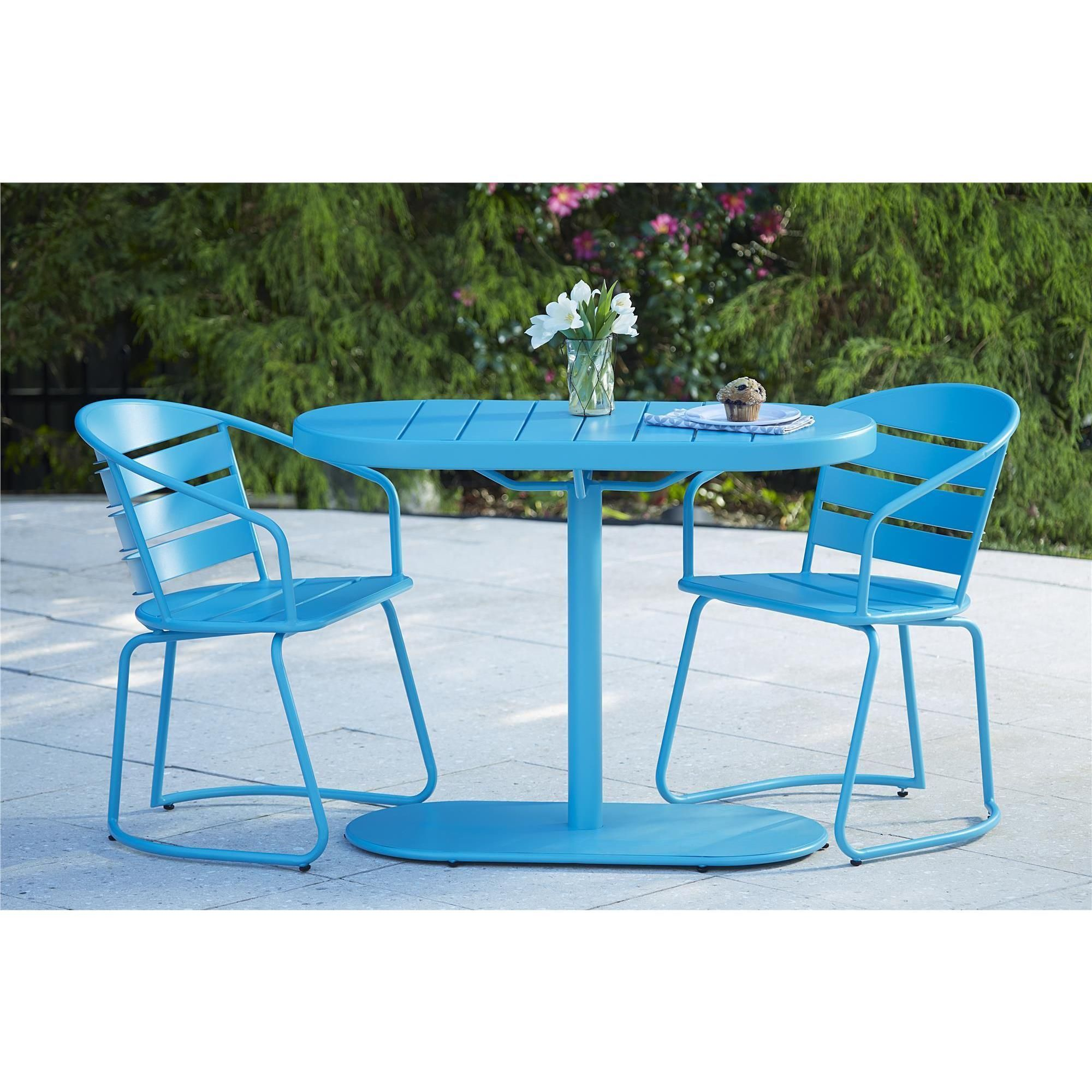 Avenue Greene Blue Outdoor Steel Nesting Bistro Patio Set 3 piece