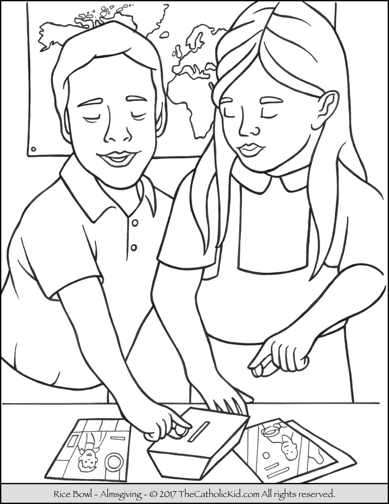 Lent Rice Bowl Coloring Page | Lent for Children for the Liturgical ...