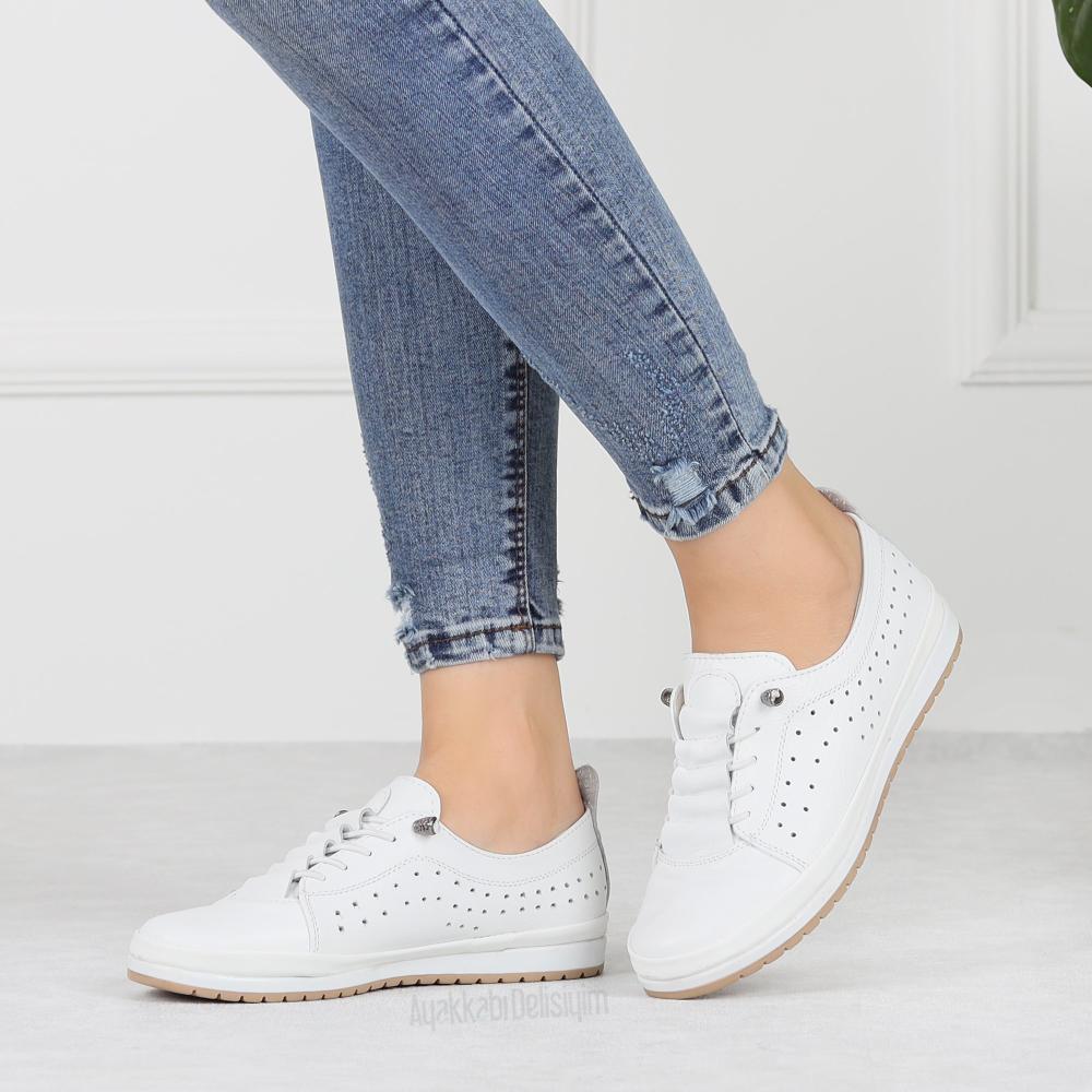 Olinina Beyaz Gercek Deri Kadin Spor Ayakkabi Ayakkabilar Kadin Sneaker