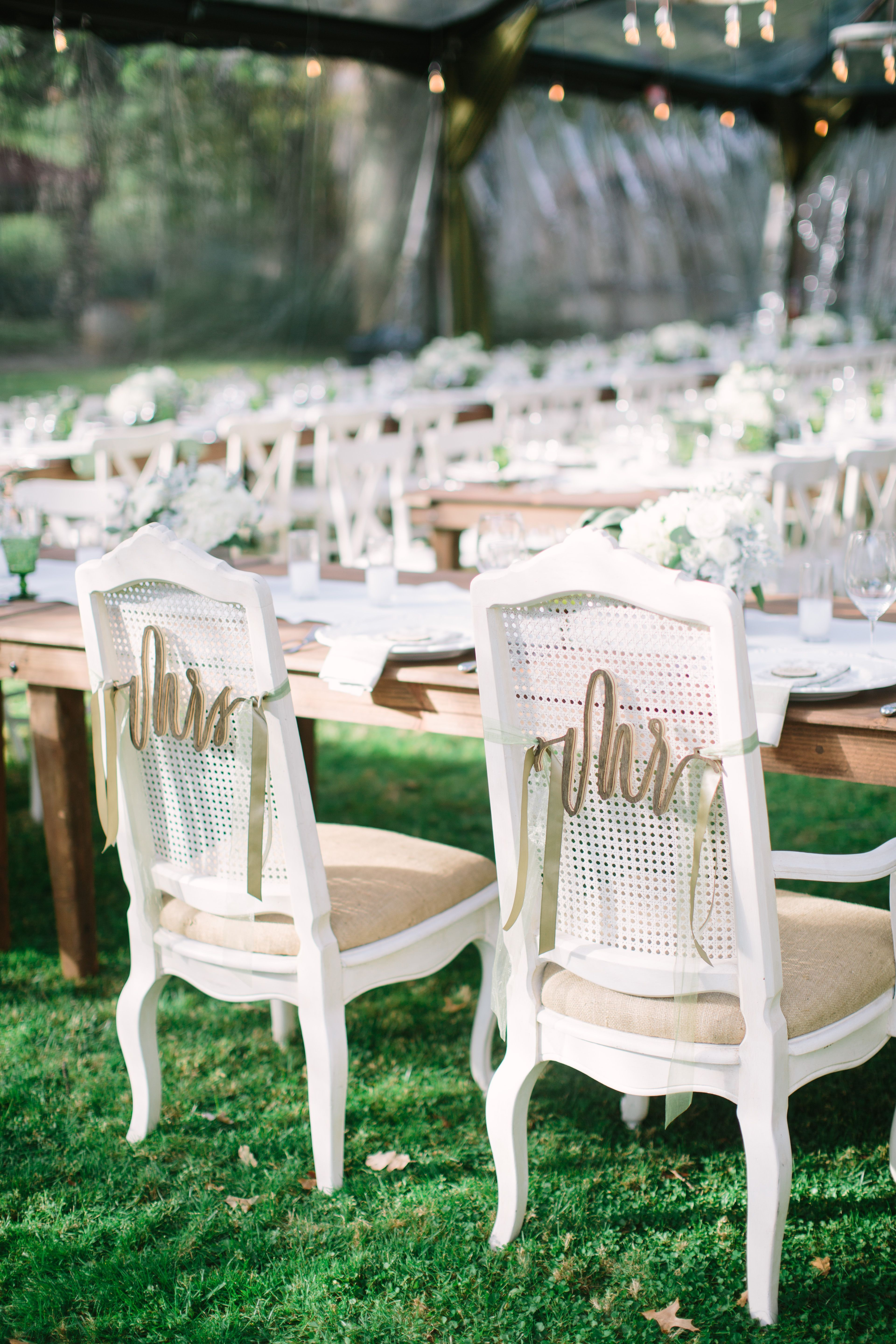 Cursive Mr and Mrs Bride and Groom Chair Decor | Wedding Receptions ...