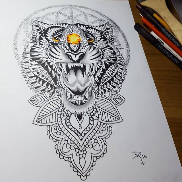 mulpix just finished this design request for a tattoo tiger tigertattoo life pinterest. Black Bedroom Furniture Sets. Home Design Ideas