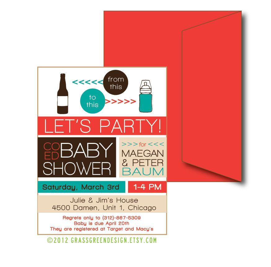 Co Ed Baby Shower Beer Bottle To Baby Bottle - 15 Custom Invitations ...