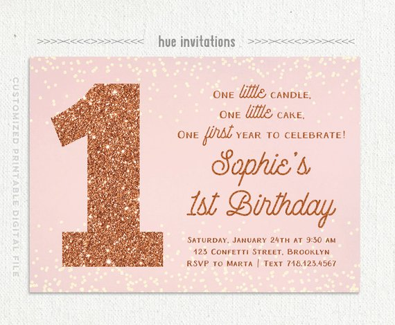 1st Birthday Invitation Rose Gold And Blush Pink First Girl Digital Printable Invitations