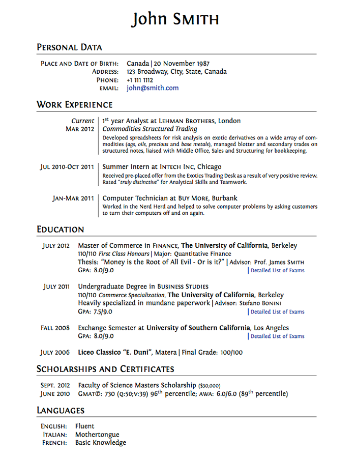 Best Resume Layouts 2013 | LaTeX Templates » Curricula Vitae/Résumés ...