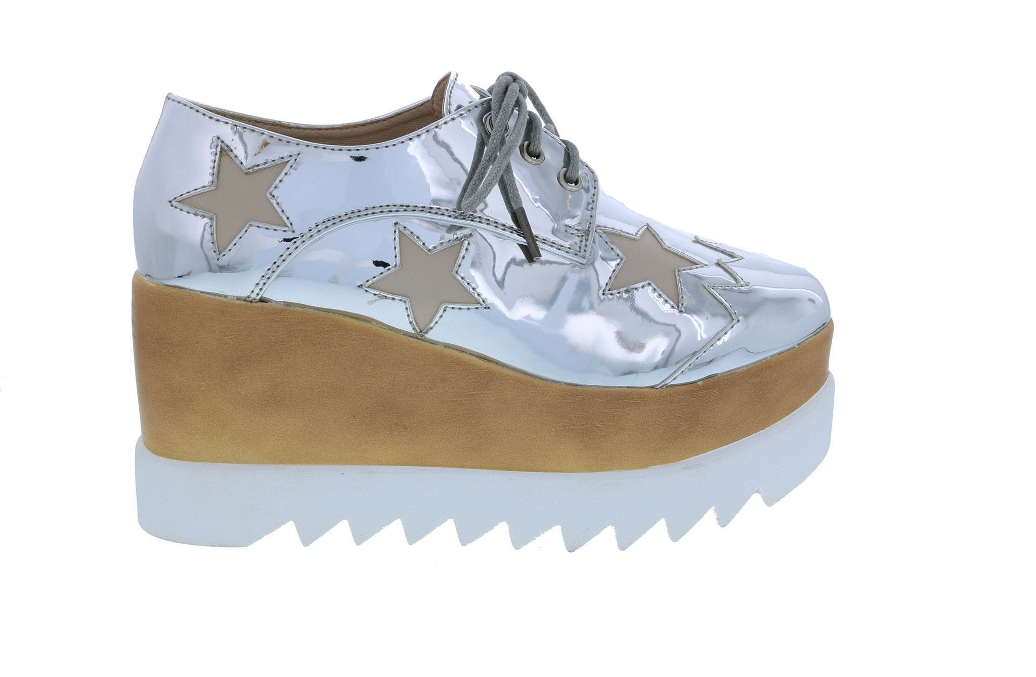 Funky Star Lace Up Vegan Leather Women S Platform Oxford Wedge