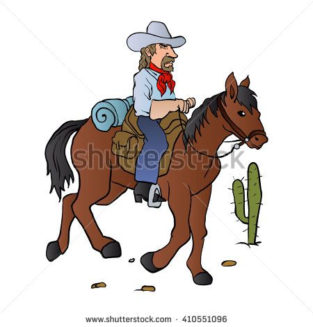 Cowboy on the horse vector illustration