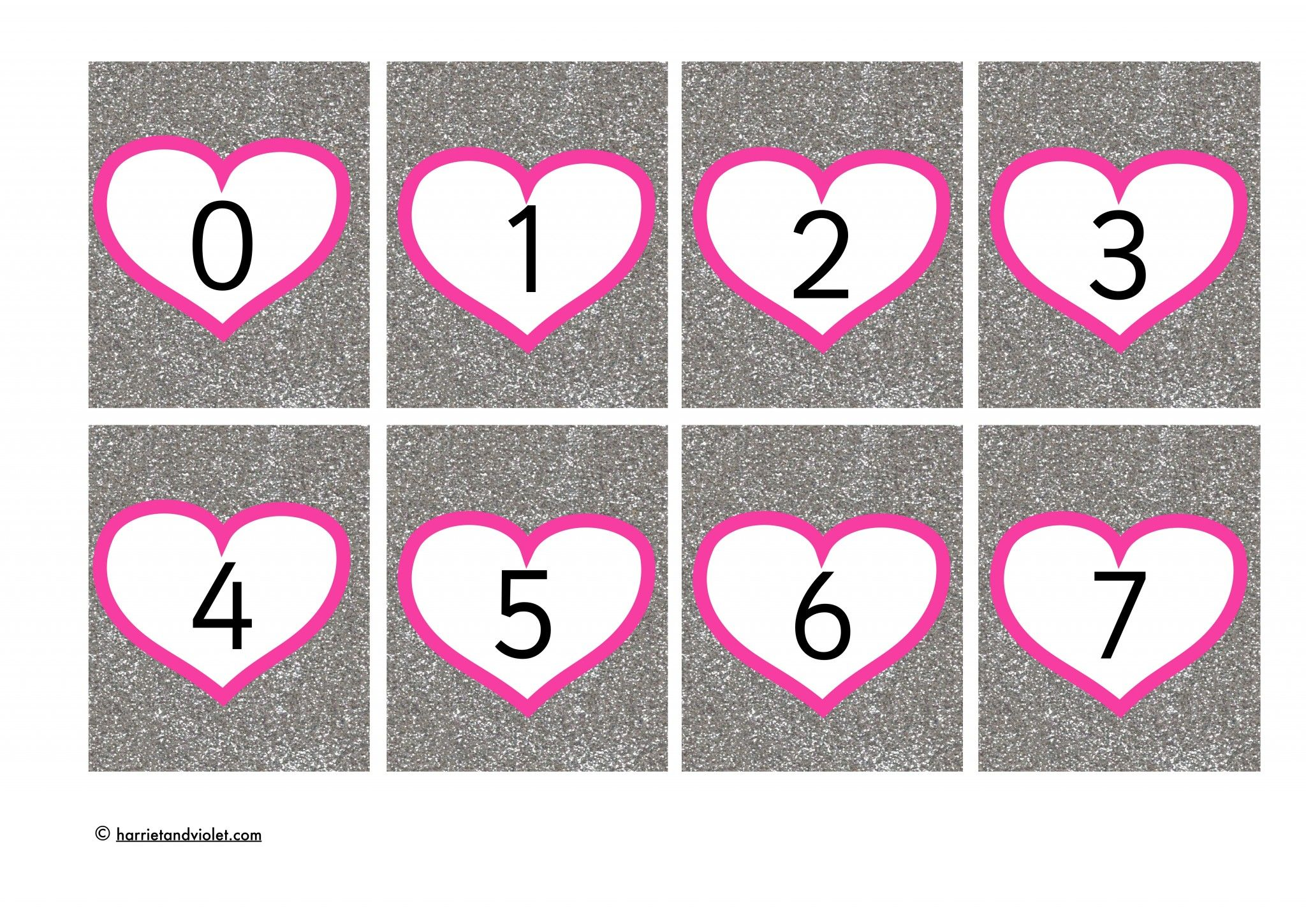 Number Cards 0 30 In Valentine Hearts