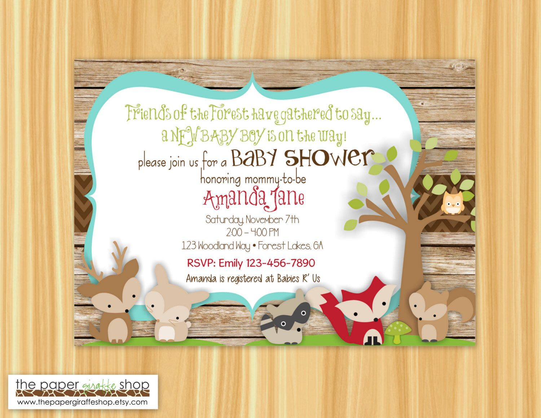 Woodland Creatures Baby Shower Invitation   Woodland Creatures Itu0027s A Boy  Babyu2026