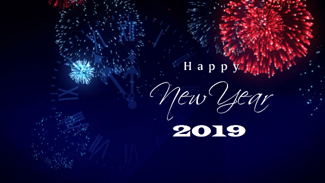 Most Amazing Happy New Year 2019 Text Fireworks Happy New Year