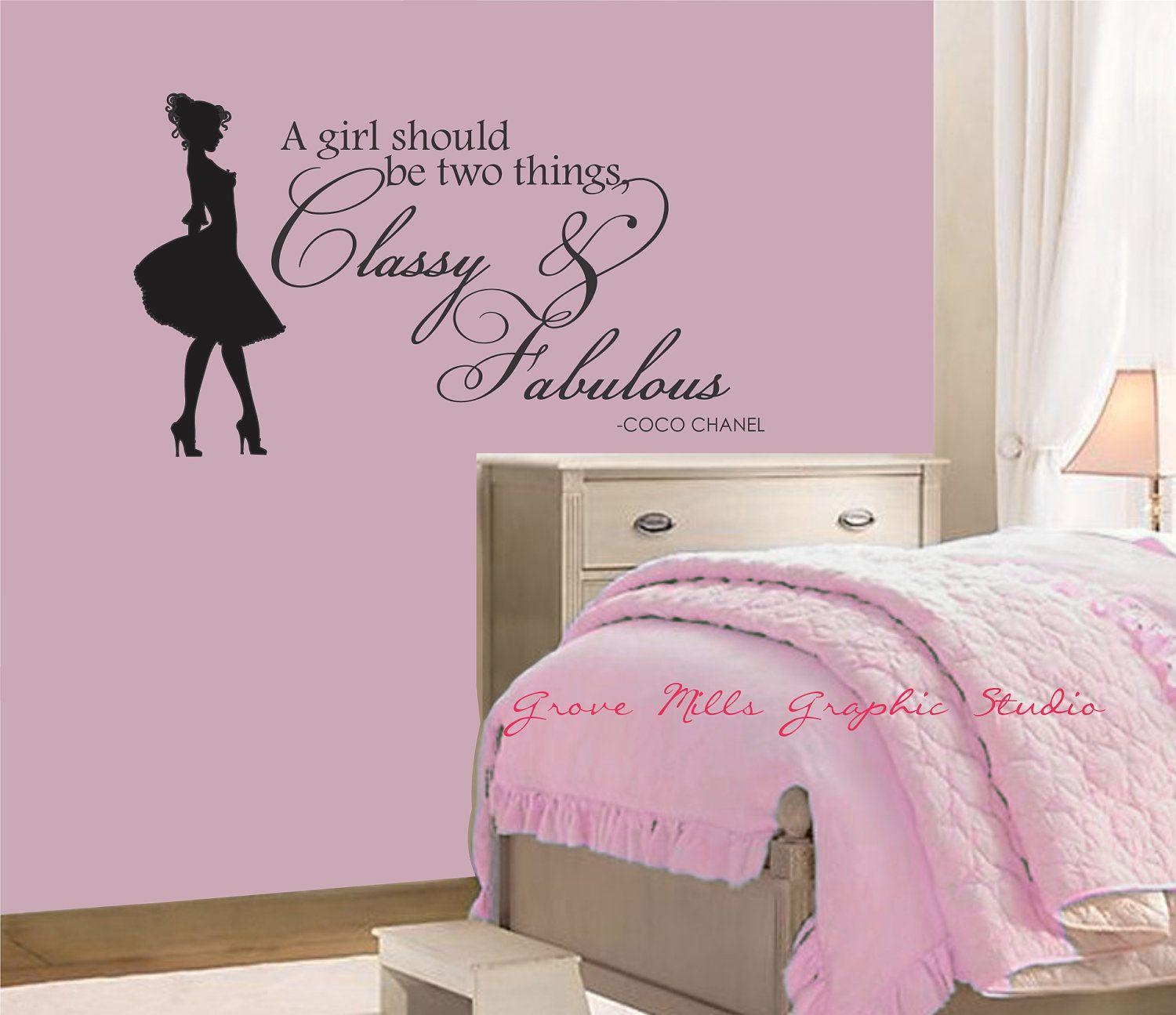 Wall Designs For Girls Room pretty in pink pink and gray girls bedroom the dresser was converted from a Classy And Fabulous Wall Decal Coco Chanel Wall Quote Girls Room Wall Decal Girls Room Wall Art Girl Wall Decor