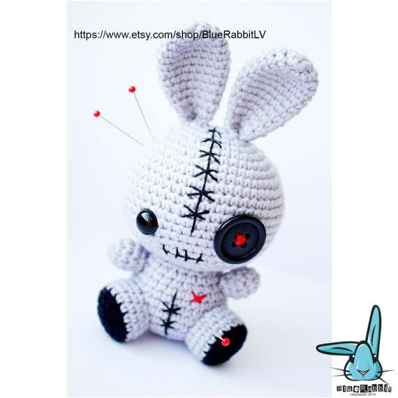 Rabbit Voodoo Doll - crochet amigurumi toy. Pincushion
