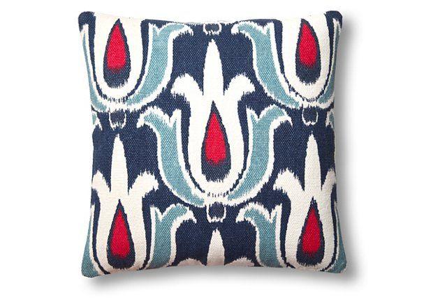 Tulip 20x20 Cotton Pillow, Blue