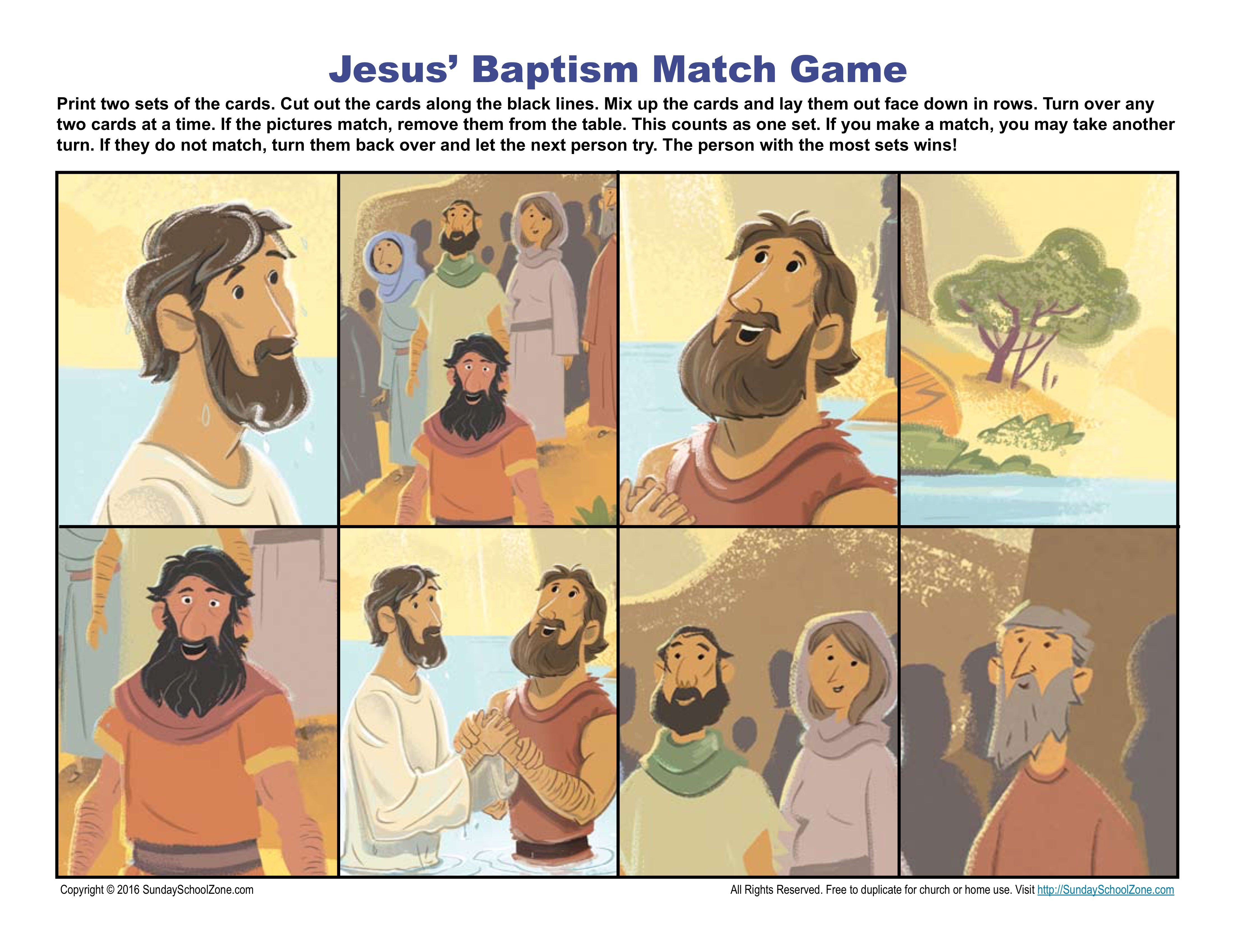 Jesus Baptism Match Game