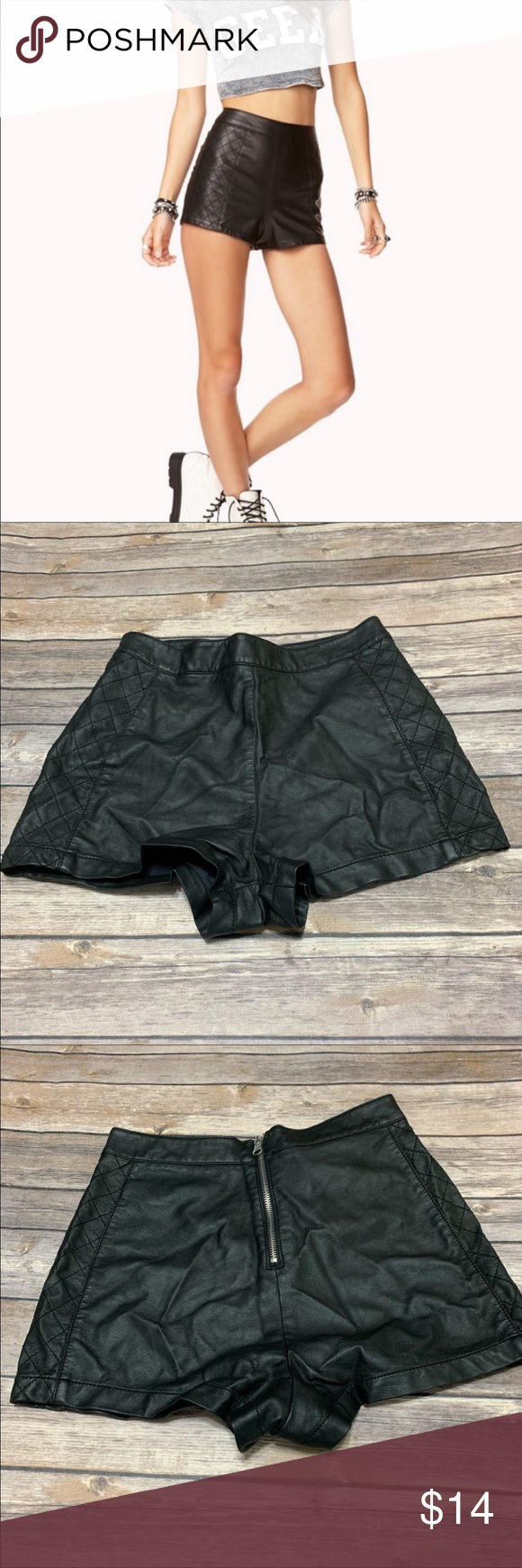 Quilted zipper faux leather shorts