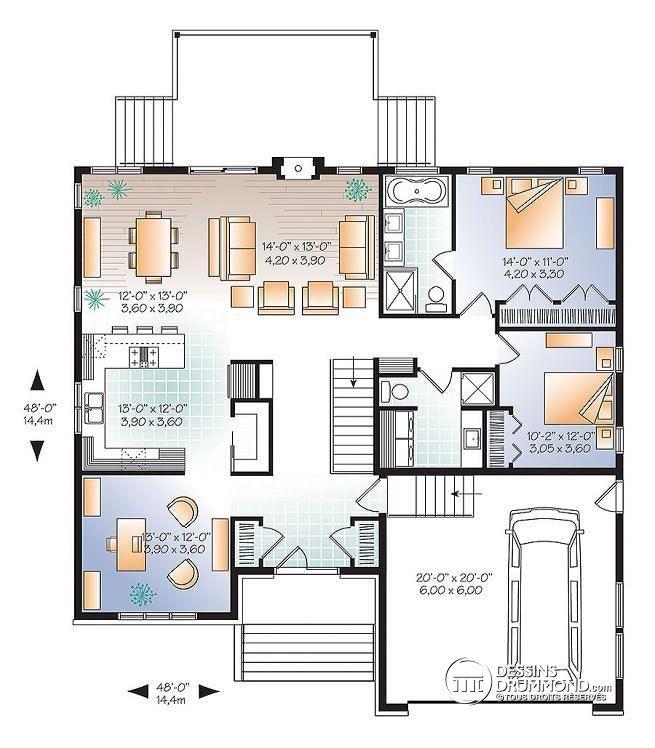 W3280-V1 - Plan de Maison urbainn, s.bain privé aux maîtres ...