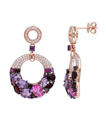 These glistening dangle earrings feature a plethora of gemstones including pink tourmalines, amethysts and garnets. This fabulous one-of-a-kind pair is topped with pave-set white diamonds and is set in 14-karat rose gold.
