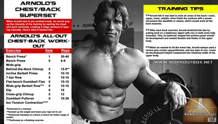 Arnold chest and back workout routine schwarzenegger training arnold chest and back workout routine schwarzenegger training malvernweather Image collections