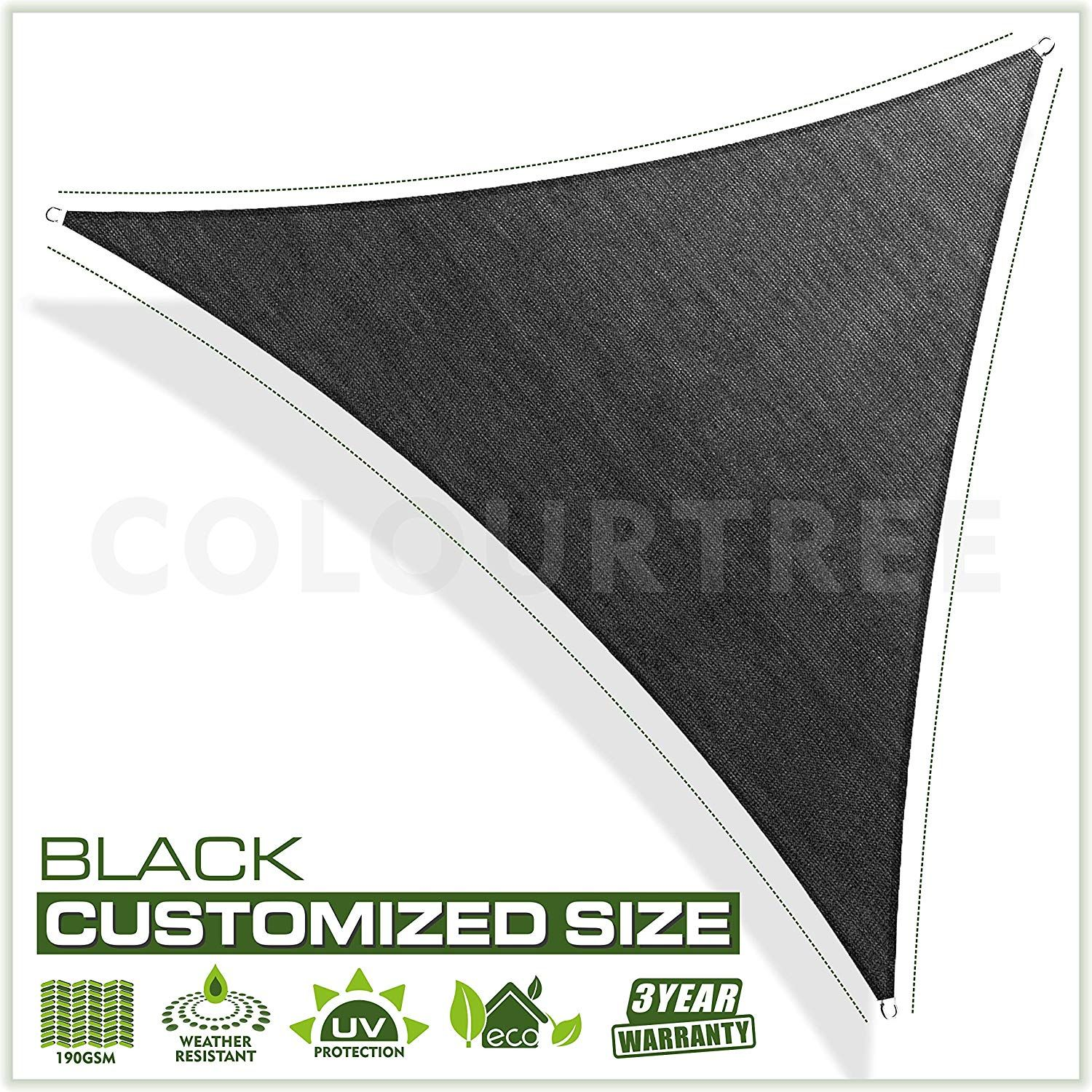 Colourtree Customized Size Order To Make Sun Shade Sail Canopy Mesh Fabric Uv Block Triangle Commercial Standard Heavy Duty 190 Gsm 3 Years Warranty 5 X 5 Sun Sail Shade Shade Sail Sail Canopies