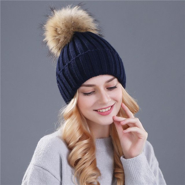 f39d7a354 Xthree mink and fox fur ball cap pom poms winter hat for women girl ...