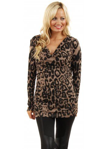 Brown Leopard Print Cowl Neck Jersey Top