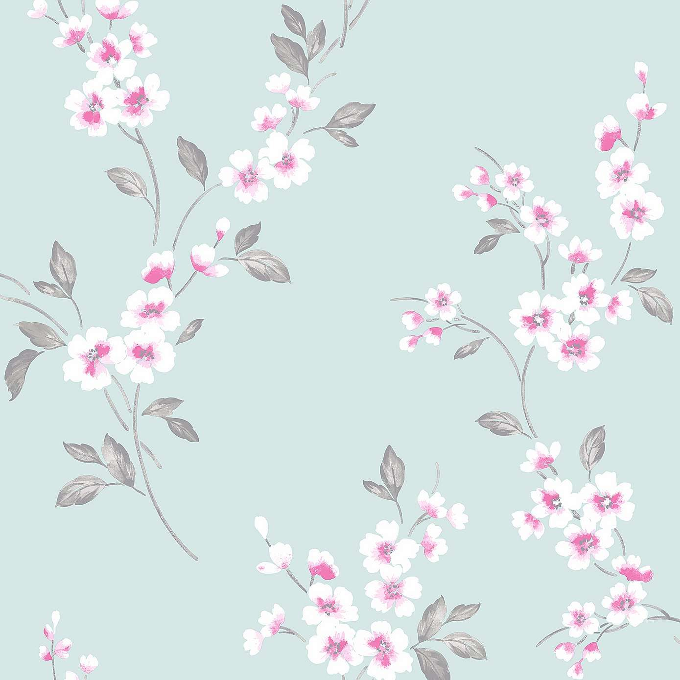 In An Elegant Duck Egg Blue Colourway, This Patterned Wallpaper