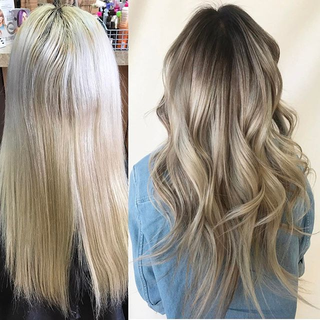 Before After From A Flat Global Bleach To A Dimensional Ombre Root Shade Low Lights Toner Hairbysie On I Hair Beauty Bleached Hair Hair Inspiration